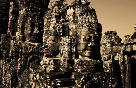 Faces at Bayon Temple, Angkor Wat, Cambodia. Seth Rosenblatt (c) 2006.