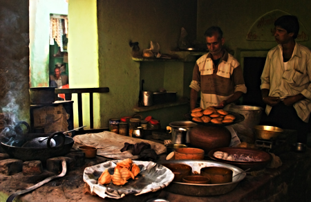 Samosa shop during power outage, Nawalgarh, Rajasthan, India. Seth Rosenblatt (c) 2006.