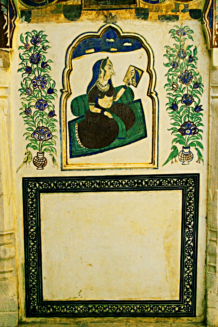 Mural of woman admiring herself, Hotel Mandawa haveli, Mandawa, Rajasthan, India. Seth Rosenblatt (c) 2006.