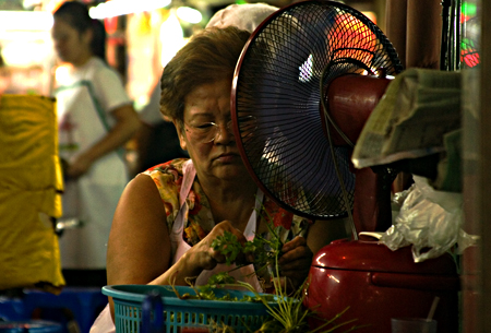 Preparing food and trying to cool off, street stall in Chinatown, Bangkok. Seth Rosenblatt (c) 2006.