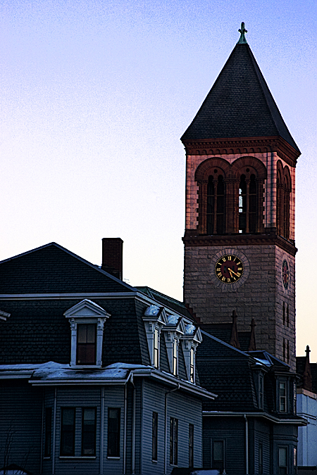 Steeple at dusk in February, Cambridge, Boston. Seth Rosenblatt (c) 2007.