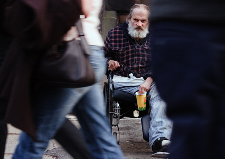 Vietnam vet on Newbury St., Boston, MA. Seth Rosenblatt (c) 2007.