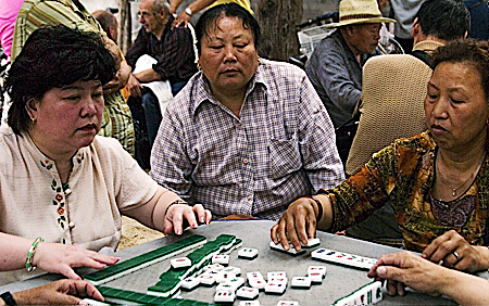 Mahjong madness near Qianhai Lake, Beijing, China. Seth Rosenblatt (c) 2006.