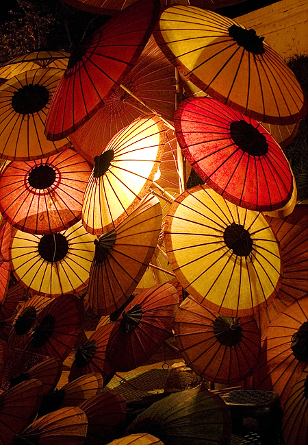 Parasols for sale at the Thanon Phothisalat night market, Luang Prabang, Laos. Seth Rosenblatt (c) 2006.