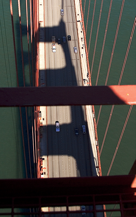 Shadow of the south tower, Golden Gate Bridge, San Francisco, CA. Seth Rosenblatt (c) 2006.
