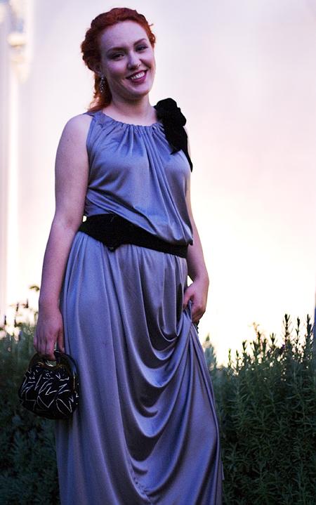 My FInancial and Menu Adviser wearing a dress she made for my cousin's wedding, Yorba Linda, CA. Seth Rosenblatt (c) 2007.