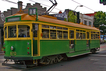 Car 870 on the 78-line, Prahran, Melbourne, Australia. Seth Rosenblatt (c) 2005.