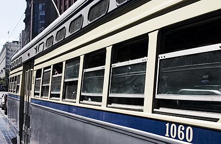 Muni Streetcar PCC 1060, Westbound F-Market, San Francisco, CA. Seth Rosenblatt (c) 2007.